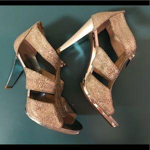 Silver MK heels 6M